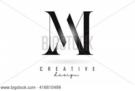 Am A M Letter Design Logo Logotype Concept With Serif Font And Elegant Style. Vector Illustration Ic