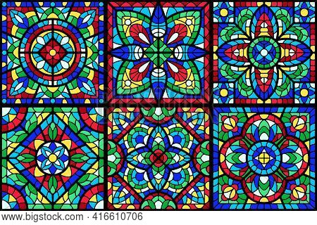 Stained-glass Window With Colored Piece. Decorative Mosaic Tile Pattern.