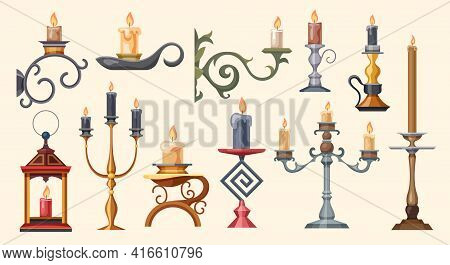 Candlesticks, Candle Holders And Candelabra Lights Vector