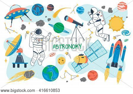 Astronomy Concept Isolated Elements Set. Bundle Of Astronauts Fly In Outer Space, Planets, Celestial