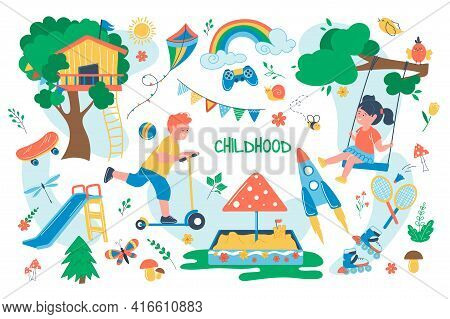 Childhood Concept Isolated Elements Set. Bundle Of Children Play In Playground, Girl On Swing, Boy R