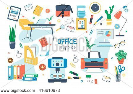 Office Supplies Concept Isolated Elements Set. Bundle Of Workplace, Computer, Printer, Folders, Pape