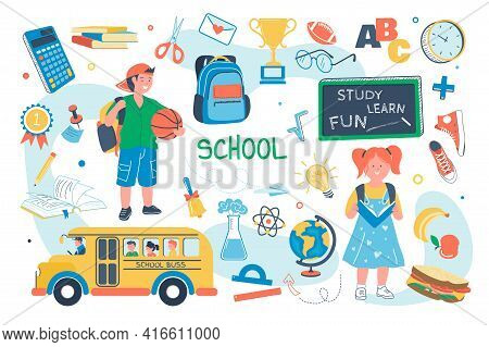 School Concept Isolated Elements Set. Bundle Of Schoolchildren Study, Girl Reads Book, Boy With Back