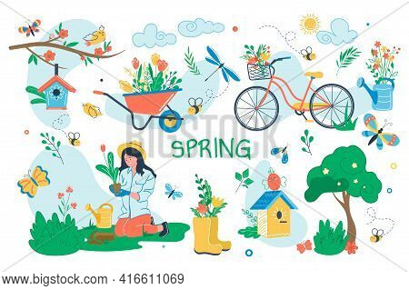 Spring Concept Isolated Elements Set. Bundle Of Woman Gardening Plants In Garden, Blooming Trees, Bi