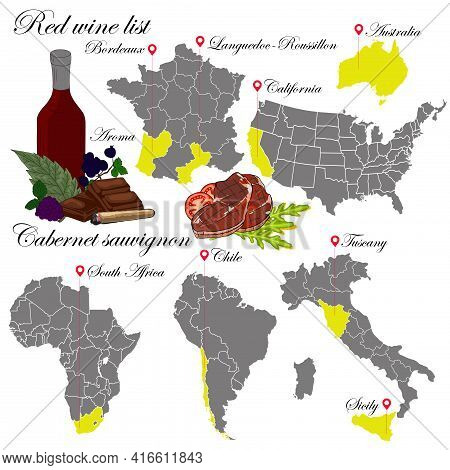 Cabernet Sauvignon. The Wine List. An Illustration Of A Wine With An Example Of Aromas, A Vineyard M