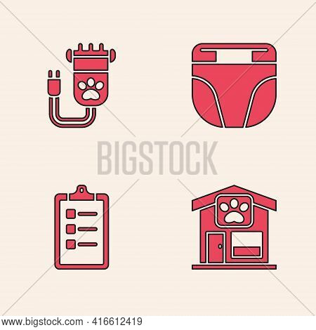 Set Pet Grooming, Hair Clipper Pet, Diaper For Dog And Grooming Salon Price List Icon. Vector