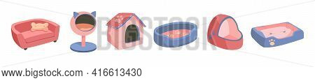 A Set Of Beds For A Pet, Dog Or Cat. Flat Vector Illustration Of Goods For Animals. Objects Isolated