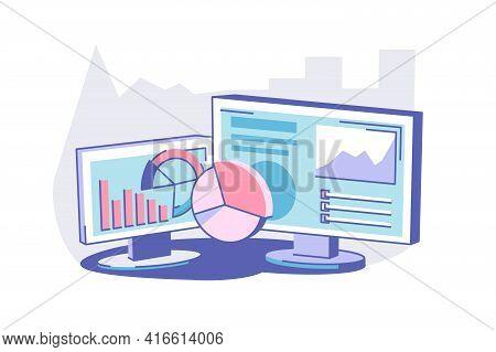 Modern Computer On Table Vector Illustration. Pc
