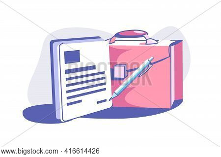 Business Document And Briefcase Vector Illustration. Paper