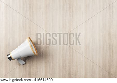 Announcement Concept With Megaphone Speaker On Wooden Wall Background. 3d Rendering, Mockup