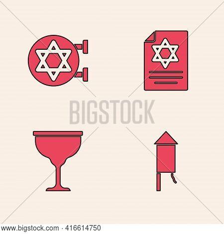 Set Firework Rocket, Jewish Synagogue, Torah Scroll And Goblet Icon. Vector