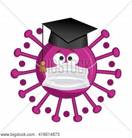 Congratulations Graduates Class Of 2021 - Kawaii Coronavirus With Graduation Hat. Vector Illustratio