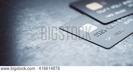 Online Payments Concept With Black Credit Cards On Abstract Blank Dark Surface, 3d Rendering, Mockup
