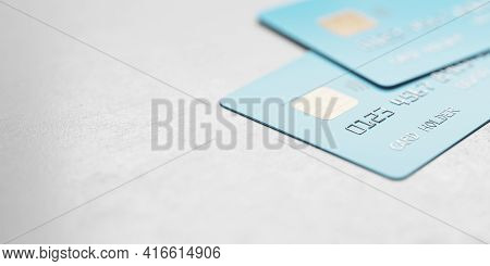 Online Shopping Concept With Blue Credit Cards On Abstract Light Surface With Copyspace, 3d Renderin