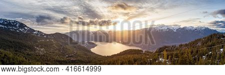 Panoramic View Of Canadian Nature Mountain Landscape From Sea To Sky Gondola Summit Viewpoint. Color