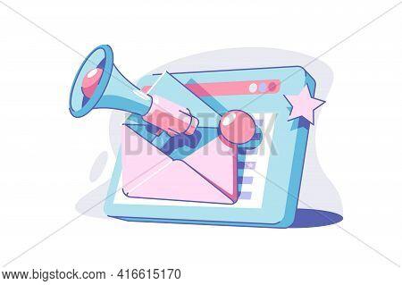 Email Marketing Campaign Vector Illustration. Modern Tablet