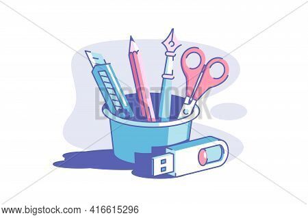 Toolset And Flash Drive Vector Illustration. Pencil