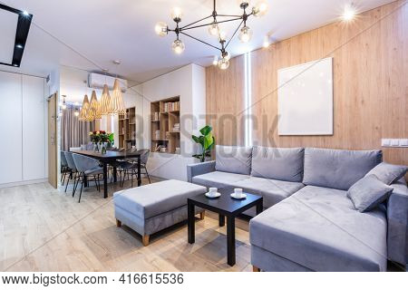 Living room in a small modern apartment. Interior design