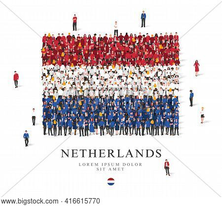 A Large Group Of People Are Standing In Red, White And Blue Robes, Symbolizing The Flag Of The Nethe
