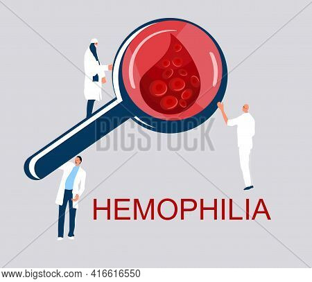 World Hemophilia Day Concept. Coagulation And Blood Clotting Problem. Magnifier With Cancer Blood Fu
