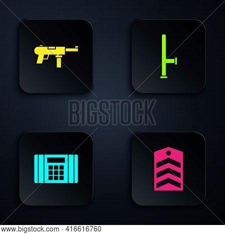 Set Chevron, Submachine Gun M3, Dynamite Bomb And Police Rubber Baton. Black Square Button. Vector