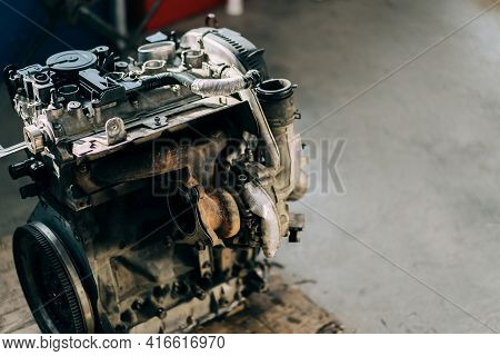 The Internal Combustion Engine Is Assembled On The Floor. Car Engine Repair And Purchase