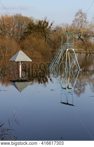 High Waters Flood At Park, Only The Tops Of The Sunshade And Lifeguard Tower