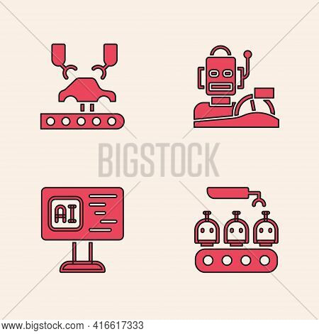 Set Industrial Production Of Robots, Robotic Arm Factory, Humanoid Driving Car And Software Icon. Ve