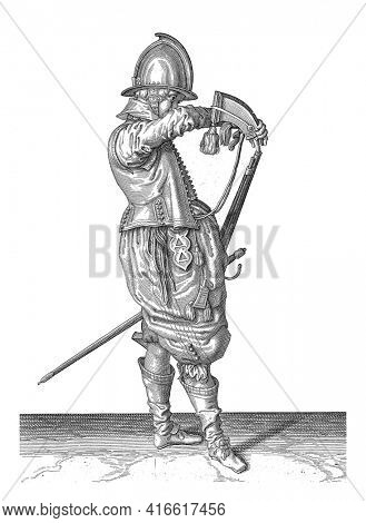 A Soldier, Full Length, after on the right, holding a rudder (a particular type of firearm) with his left thigh with his left thigh, pointing the barrel diagonally upwards, vintage engraving.