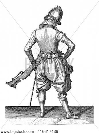 A soldier, full-length, on the back seen, holding a rudder (a certain type of firearm) by the left thigh with his left hand, pointing the barrel diagonally upwards, vintage engraving.