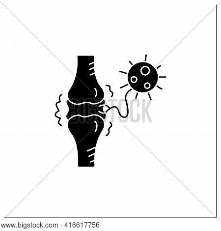 Joint Pain Glyph Icon.covid Molecule Attacking Joints.concept Of Corona Virus Disease System Health