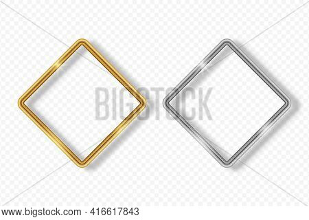 Set Of Gold And Silver Rhombus Frame On Transparent Background With Shadow. Golden And Silver 3d Rea