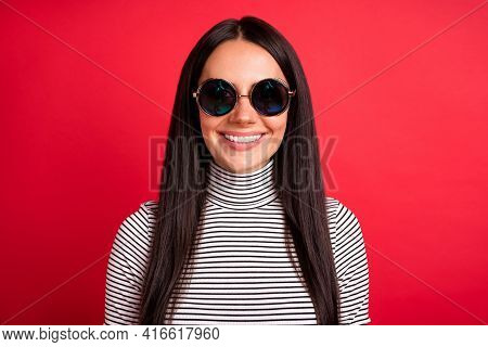 Photo Of Young Pretty Charming Smiling Good Mood Girl In Sunglasses Wear Striped Turtleneck Isolated