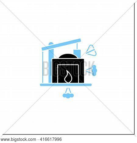 Industry 1.0 Glyph Icon. Mechanization, Water Power. Steam Power. Mechanized Production. Digital Tra