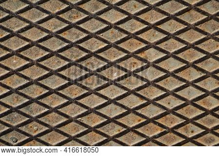 Grunge Metal Manhole Cap, Sewers Cover Texture And Background