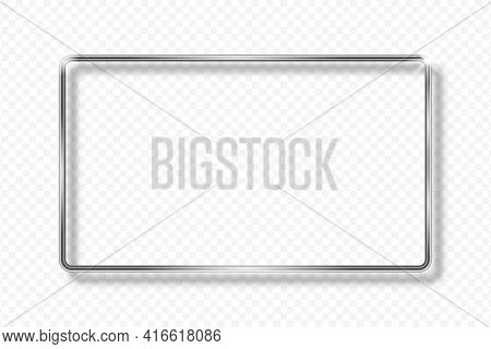 Silver Rectangle Frame On Transparent Background With Shadow. Silver 3d Geometric Rectangular Border