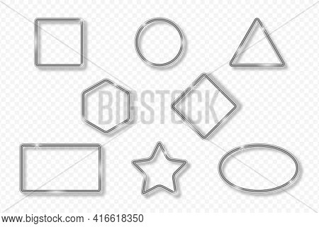 Set Of Silver Frames On Transparent Background With Shadow. Silver 3d Realistic Geometric Borders In