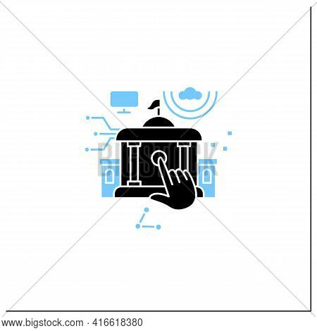 Electronic Government Glyph Icon. Modern Technologies. Digitalization. Solving Public Affairs Online
