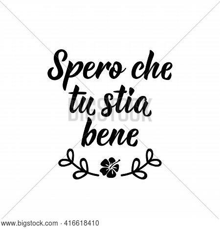 Spero Che Tu Stia Bene. Translation From Italian: I Hope You Are Well. Lettering. Ink Illustration.