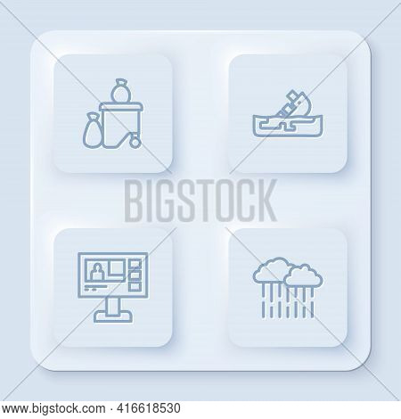 Set Line Full Dustbin, Wrecked Oil Tanker Ship, Television Report And Cloud With Rain. White Square