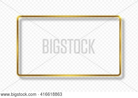 Golden Rectangle Frame On Transparent Background With Shadow. Gold 3d Geometric Rectangular Border W