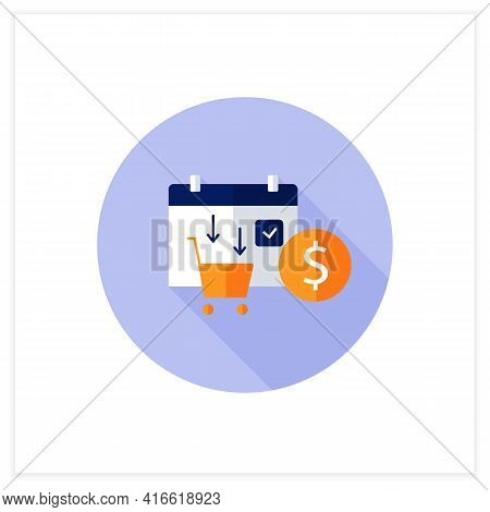 Asset Purchase Date Flat Icon.stock Purchase Process. Calendar. Business Concept. Vector Illustratio