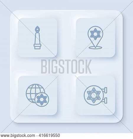 Set Line Burning Candle, Star Of David, World Globe Israel And Jewish Synagogue. White Square Button
