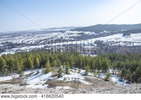 Spring Landscape, Walk On A Clear, Clear, Sunny Day To The Top Of The Ski Slope
