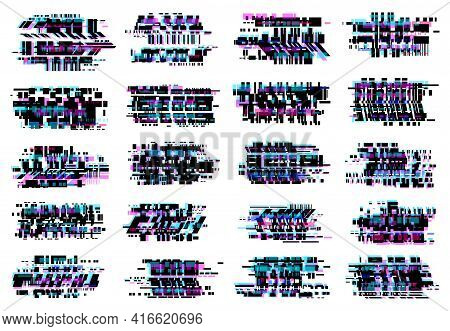 Glitch Effect Vector Icons, Abstract Glitched Distortion With Colored Stripes And Random Pixels. Tel