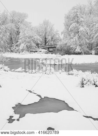 River Wetlands With Snow Cover Along The Pegnitz River, Nuremberg, Germany