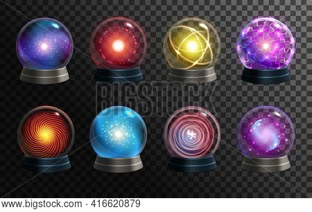 Magic Crystal Balls On Transparent Background, Vector Globes Of Fortune Teller, Oracle And Halloween