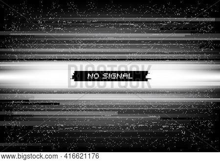 No Signal On Screen Background, Glitch Mosaic Digital Noise. Video Source Failure, Digital File Corr