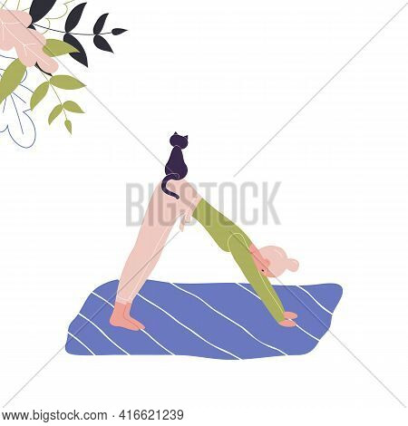 Cute Woman Does Yoga On Mat With Cat. Young Lady In Yoga Posture Downward Facing Dog, Mindfulness Pr