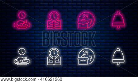 Set Line Time Is Money, Always Busy, Food Time And Ringing Bell. Glowing Neon Icon On Brick Wall. Ve